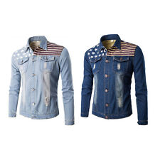 Men Boy Long Sleeve Slim Cowboy Fashion Jeans Coat Casual Blue Motocycle Jacket