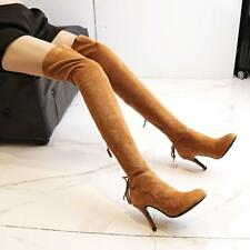 Womens Pointy Toe sexy Leather Suede Thigh over knee Boots Shoes high heels New