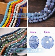 (238 COLORS) 200pcs 8mm Rondelle Crystal Glass Faceted Loose Spacer Beads Bulk