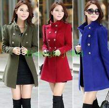Women Lady Winter Wool Long Slim Trench Parka Coat Jacket Overcoat Outwear New Y