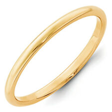 14K Yellow Gold 2mm Half Round Wedding Band Solid Classic Ring Sizes 4 - 14