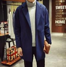 Mens Casual Fashion Long Woolen trench Loose lapel collar Coat Overcoat New YT