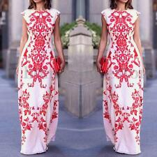 S-XL Elegant Womens Bodycon Flower Print Ball Gown Long Maxi Boho Chiffon Dress