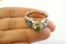 Green Tourmaline Ornate 18K Gold Vermeil 925 Sterling Silver Ring Sz 7.25 8