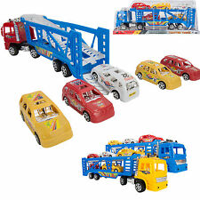 Powerful Transport Semi Truck Hauler Carrier with 5 Race Cars Play Set Toy Xmas