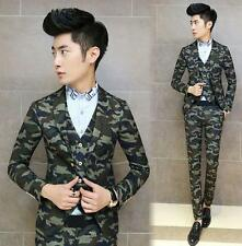 Mens slim fit camouflage dress formal two button suit coat vest pants lapel