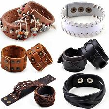 Unisex Punk Mens Womens Wide Leather Belt Surfer Bracelet Cuff Wristband Bangle