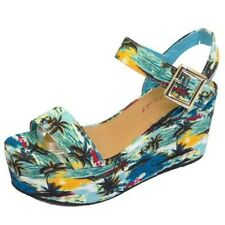 LADIES DOLCIS BLUE WEDGES PLATFORM SANDALS PEEP-TOE HOLIDAY SUMMER SHOES UK 3-8