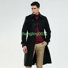 British Mens Double Breasted Wool Blend Collar Long Autumn Jacket Coat Trench Sz