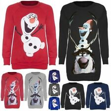 Womens Reindeer Snowman Christmas Tops Ladies Xmas Olaf Sven Long Sweatshirts