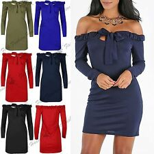Womens Mini Dress Ladies Front Cut Bow Tie Knot Off Shoulder Bardot Ruched Top