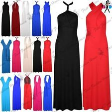 Womens Sleeveless Long Strap Ladies Halter Neck Bandeau Multiway Wear Maxi Dress