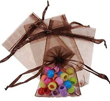 20-100Pcs Coffee Organza Wedding Favors Bags Jewelry Packing Pouches Storage Bag
