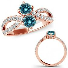 1 Carat Blue Diamond Forever Us Two 2 Stone Infinity Fancy Ring 14K Rose Gold