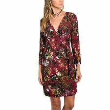 JED Women's Multicolor Polyester/Spandex Floral 3/4-sleeve Short Casual Wrap Dre