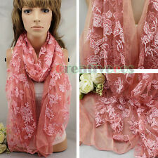 Fashion Women's Burnt-Out Floral Long Wrap Scarf Shawl Oblong Cover-up Veil New