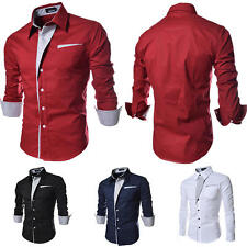 New Men Business Stylish Slim Fit Casual Luxury Tops Long Sleeve Leisure Shirts