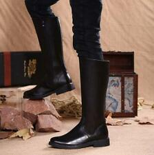 New riding equestrian Mens leather high top zip up knee boots winter fur lined Y