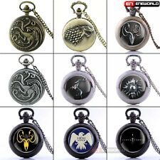 Game Of Thrones Pendant Quartz Gift Women mens Pocket Watch Retro Chain Necklace