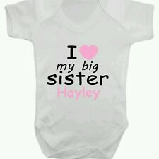 Personalised Baby Grow BodySuit *i love my big sister*