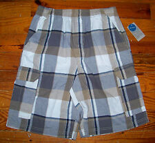 New! Boys CANYON RIVER BLUES Brown Gray White Plaid Casual Cargo Shorts
