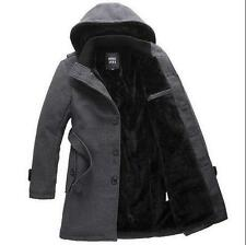 Mens Fashion trench wool hooded Jacket winter coat warm lined outwear parka New