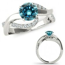 0.75 Carat Blue Diamond Solitaire Infinity ByPass Beautiful Ring 14K White Gold