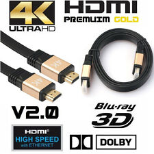 Premium HDMI Cable v2.0 Gold High Speed HDTV UltraHD HD 2160p 4K 3D Ethernet Lot