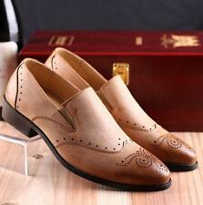 Mens Brogue Slip On Shoes Dress Formal Loafer oxford Casual wing tip carving