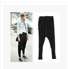 Womens Leisure Loose Elastic Baggy  Drop-Crotch Black Trousers harem pants