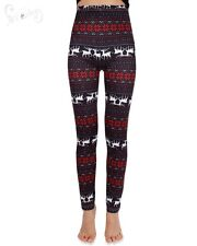 Lady Women Christmas Paisley Snowflake Deer Tree Stretchy Leggings Trouser Pants