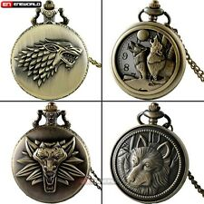 Vintage Games of Thrones Wolf Quartz Pocket Watch Chain Necklace Antique Mens
