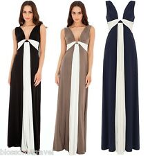 Goddiva-Goddess Long Grecian Contrast Maxi Evening Dress Prom Party Cruise Ball