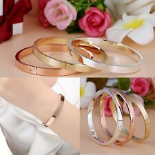 Silver/Gold-plated Stainless Steel Women's Cuff Bangle Crystal Bracelet Jewelry