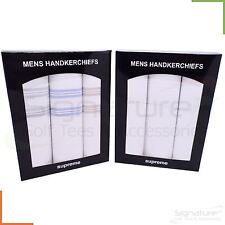 Mens 100% Cotton Handkerchiefs 3 or 6 Hankies Plain White Colour Stripe