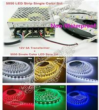 5M 5050 SMD 300LEDs Non-Waterproof Strip+5A 12V 60W LED Mains Supply Transformer