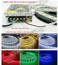 5M 5050 SMD 300LEDs Waterproof Strip + 5A 12V 60W LED Mains Supply Transformer