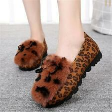 New Womens Woolen Fur Winter Sexy Leopard Flats Oxfords Shoes Slip Slippers hot