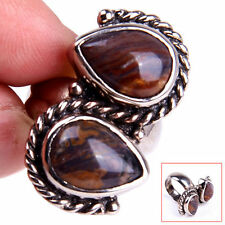 Handmade 925 Sterling Silver Natural Brown Agate Gemstone Ring Size 6.75 M1056