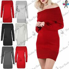 Womens Ribbed Ruffle Frill Off Shoulder Jumper Ladies Knitted Tunic Mini Dress