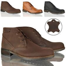 Mens boys casual lace up leather chukka office work formal ankle boots shoes