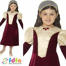 TUDOR DAMSEL MEDIEVAL PRINCESS QUEEN COSTUME age 10-12 girls kids fancy dress