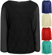 New Plus Size Womens Lace Long Sheer Chiffon Sleeve Ladies Party Top 16 - 26