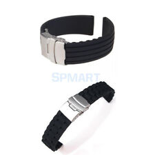 Men Divers Waterproof Silicone Rubber Deployment Buckle Watch band Strap 18-24mm