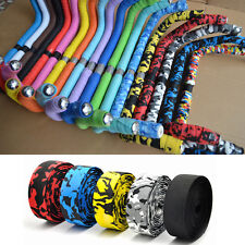 2Pcs Sports Cork Bar Grip Handlebar Cycling Road Bicycle Bike Wrap Tape+Bar Plug