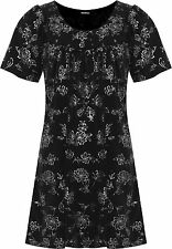 Womens Plus Floral Glitter Party Top Ladies Short Sleeve Scoop Neck Sparkle