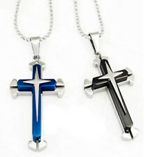Men's Stainless Steel Cross Crucifix Charm Pendant Long Dog Tag Chain Necklace