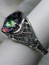 3ct*Mystic Topaz* Sterling Silver Bow Art Deco 1930s Filigree Ring Size: ANY/MTO