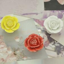1x Rose Flower Knobs Ceramic Cabinet Cupboard Dresser Door Handles Pull Drawer
