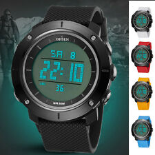 Vouge OHSEN Mens Large Face Sport Watch LED Digital Alarm Stopwatch Wrist Watch